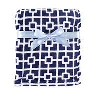 Детский флисовый плед одеяло Синие квадраты для мальчика, Luvable Friends, 76х91см, с вешалкой