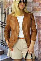 Женская кожаная коричневая куртка пилотка
