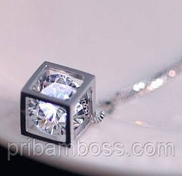 Кулон Куб з цирконом покриття сріблом 925