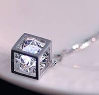 Кулон Куб с цирконом покрытие серебром 925