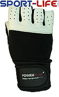 Перчатки PowerPlay для спорта БЕЛЫЕ,ЧЕРНЫЕ двойная кожаная ладонь