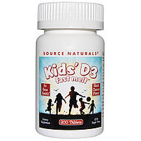 Витамин Д3 для детей, вкус вишни, Source Naturals, 400 мкг, 200 таблеток