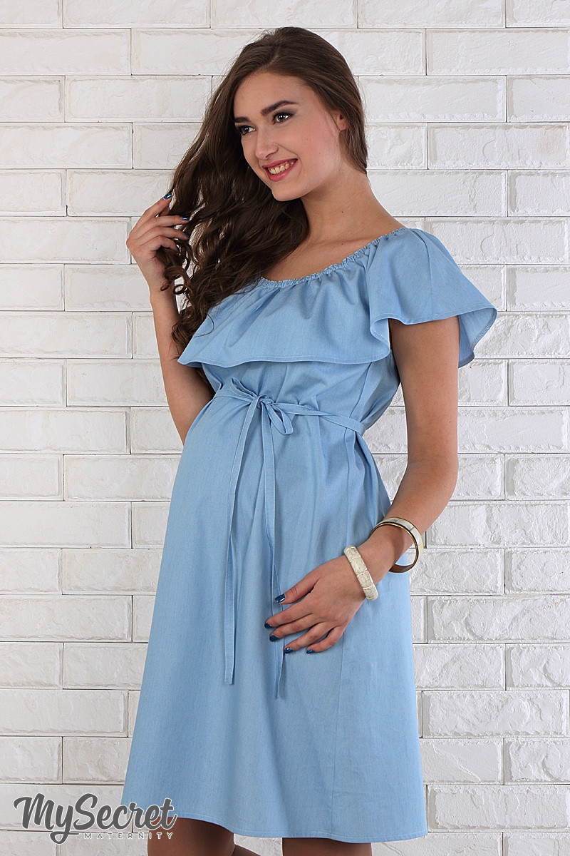 Модное платье для беременных Chic, светло-голубой джинс - Интернет-магазин