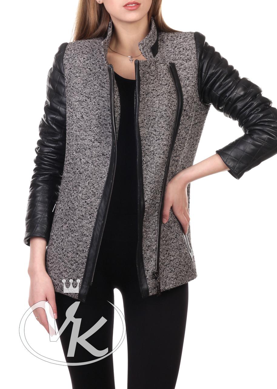 Кашемировое пальто с кожаными рукавами женское (Арт. GAK201)