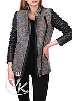 Серое кашемировое пальто с кожаными рукавами, фото 1