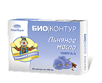 Био Контур, Россия Масло льняное (лен, олія льна, олія льняна)  БиоКонтур 340мг №60капс (БАД)