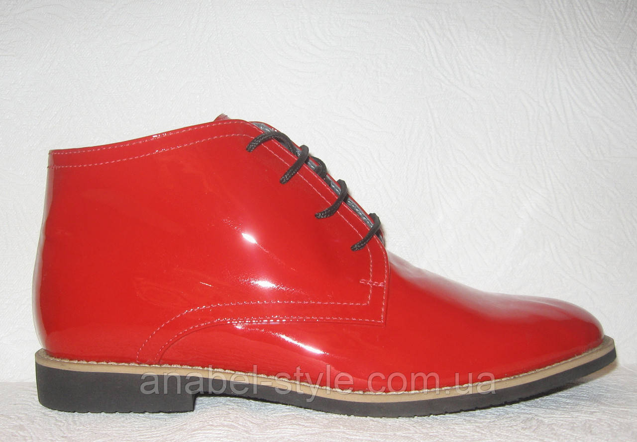 Полуботинки женские стильные лаковые красного цвета Код 173