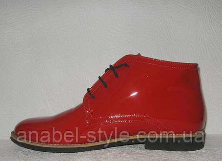 Полуботинки женские стильные лаковые красного цвета Код 173, фото 2