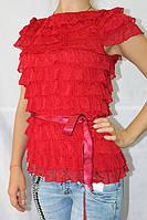 Кофточка женская с рюшами  красная