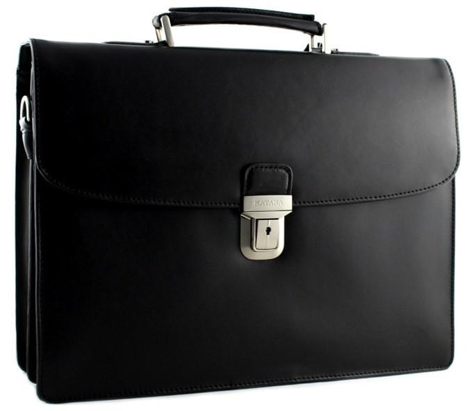 Функциональный кожаный портфель KATANA k63041-1 черный