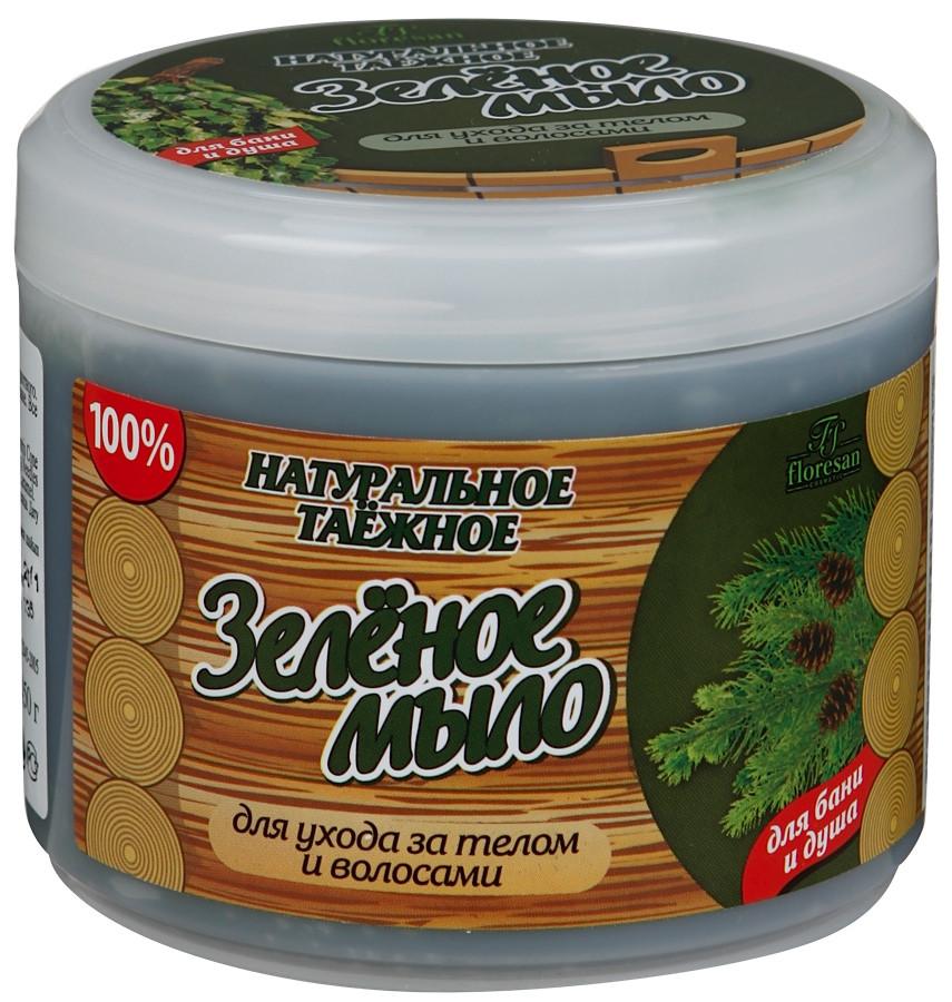 Мыло Зеленое натуральное таежное для бани и душа Флоресан 450 г (4605319006307)