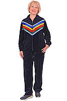 Велюровый спортивный костюм с яркими цветными полосами 62-66