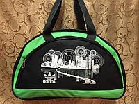 Спортивная сумка для фитнеса Adidas, Адидас черная с зеленым