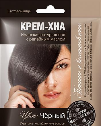 Краска для волос Черная  Фармаком КРЕМ-ХНА с репейным маслом 50 мл (4820190620446)