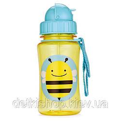 Поильник Skip Hop Zoo Straw Bottle От 12-ти месяцев, 18, 7, Полипропилен (без содержания бисфенола-А), Пчёлка, Да, 350, Skip Hop, Бутылочка