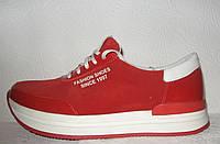 Кроссовки женские модные замшевые красные