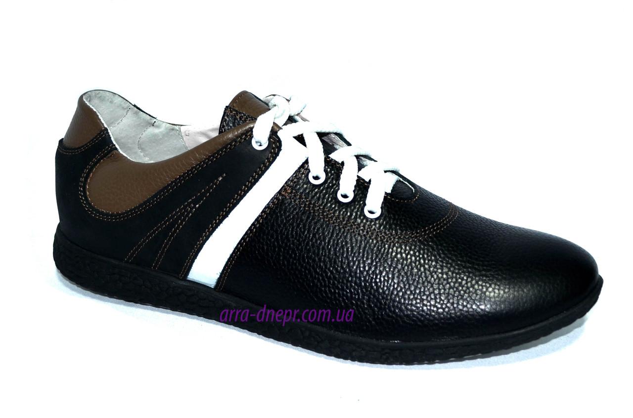 Черные кожаные кроссовки мужские
