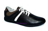 Черные кожаные кроссовки мужские, фото 1