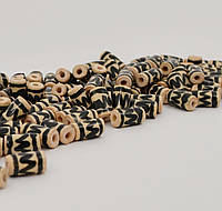 Бусина с орнаментом черного цвета декоративная керамическая ручной работы покрыта глазурью 12-13мм длина