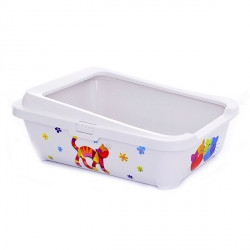 Moderna ГЕРКУЛЕС FF туалет с бортиком для котов, 51Х39Х19 см, белый