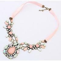 Ожерелье колье мятно-розовое