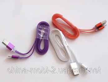 Кабель USB 2.0 - microUSB, плоский силикон, фото 2