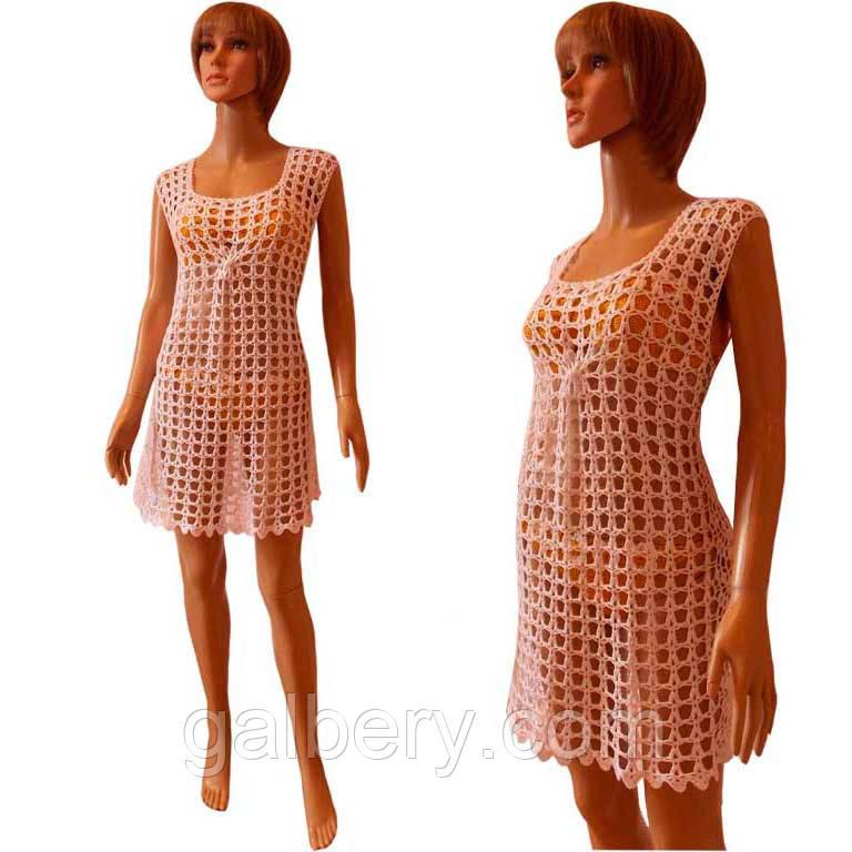 Вязаное крючком пляжное платье ручной работы