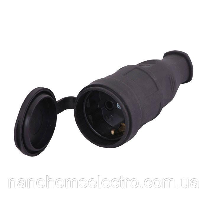 Штепсельный разъём с заглушкой 2Р+РЕ (каучук)