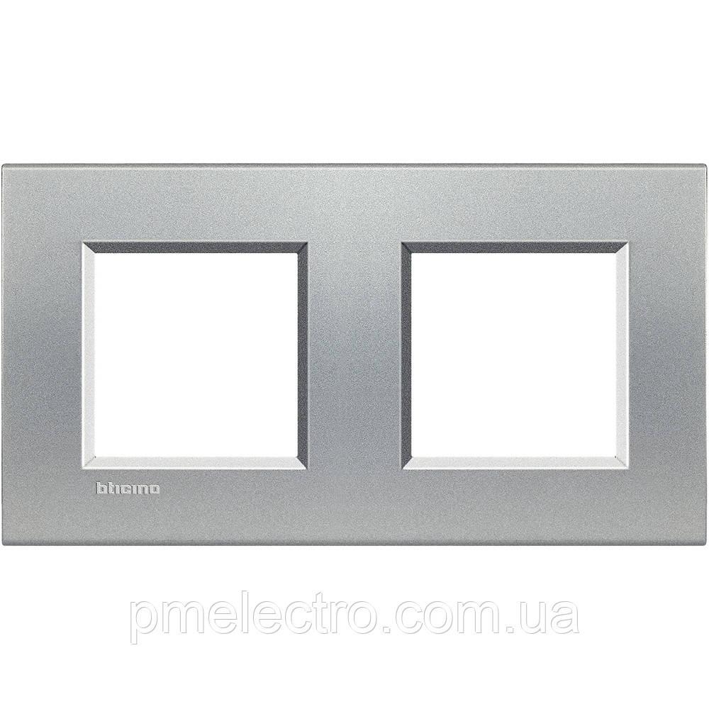 LivingLight Рамка прямоугольная, 2 поста, цвет Алюминий