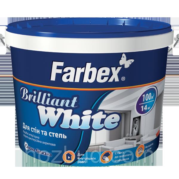 "Фарба Farbex для стін і стель білосніжна ""Brilliant White"" (Бріліант Вайт), 20 кг"