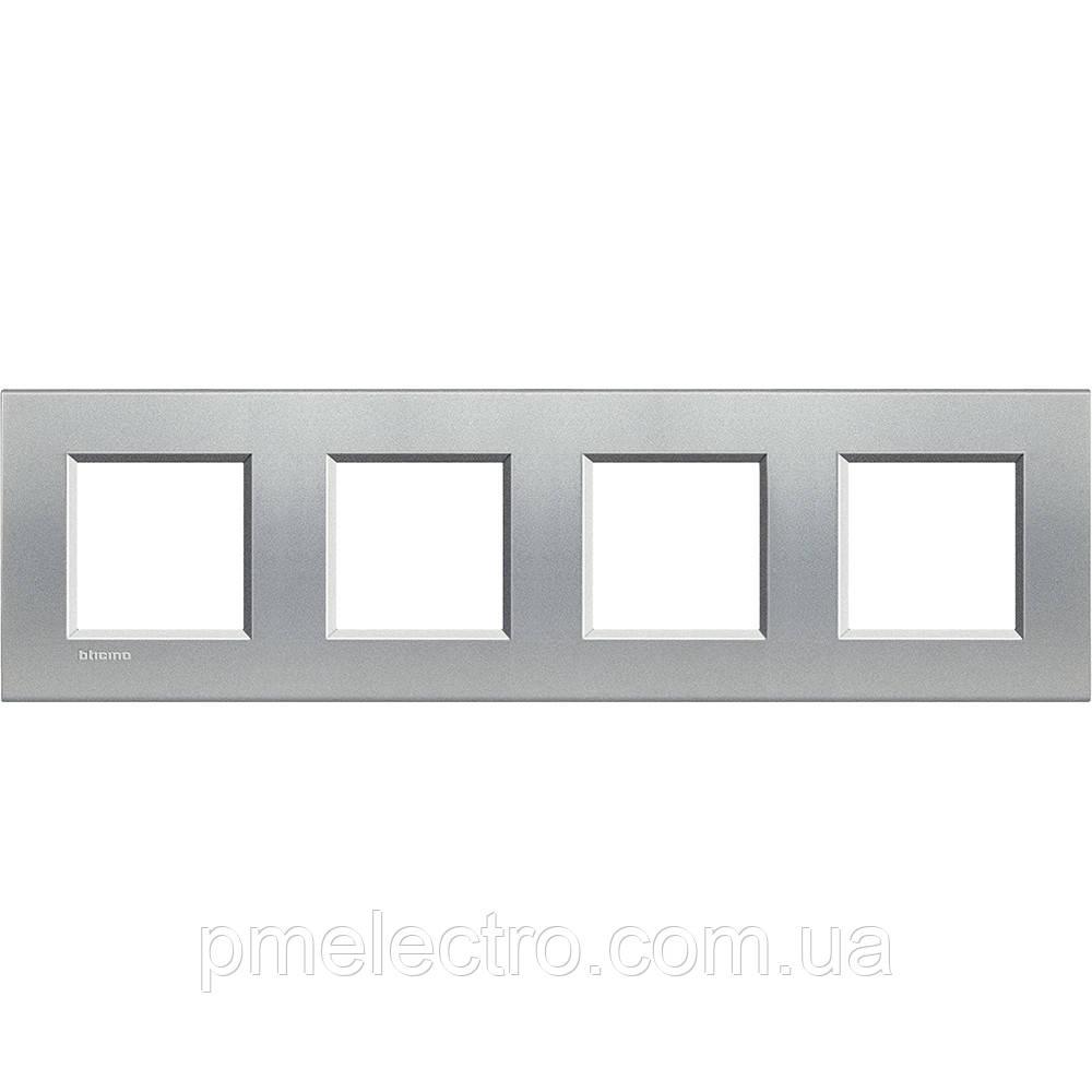 LivingLight Рамка прямоугольная, 4 поста, цвет Алюминий