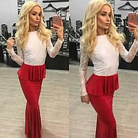"""ЦЕНА ШОК!!! Шикарное вечернее платье в пол """"Красное с белым"""" 42-60р РАСПРОДАЖА!!!"""
