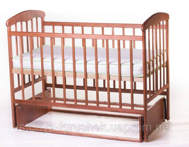 Детская кроватка Наталка с маятником темная