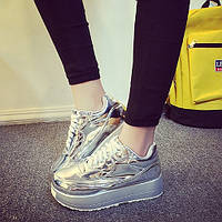 Эксклюзивные женские кроссовки на высокой платформе. Золотой и серебряный окрас