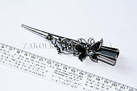 Заколка уточка стрела для волос металлическая с камнями, длина: 13 см, 12 штук в упаковке