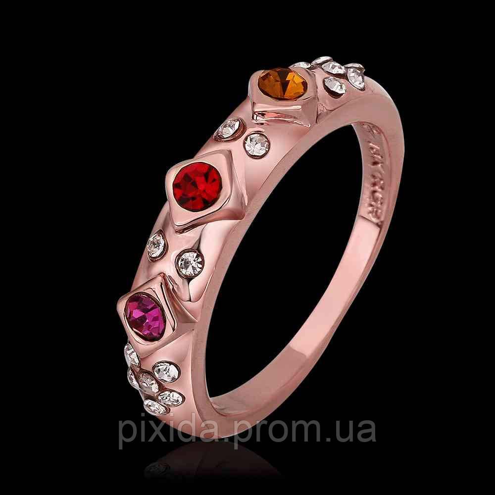 Кольцо покрытие золото 18К цветные фианиты проба
