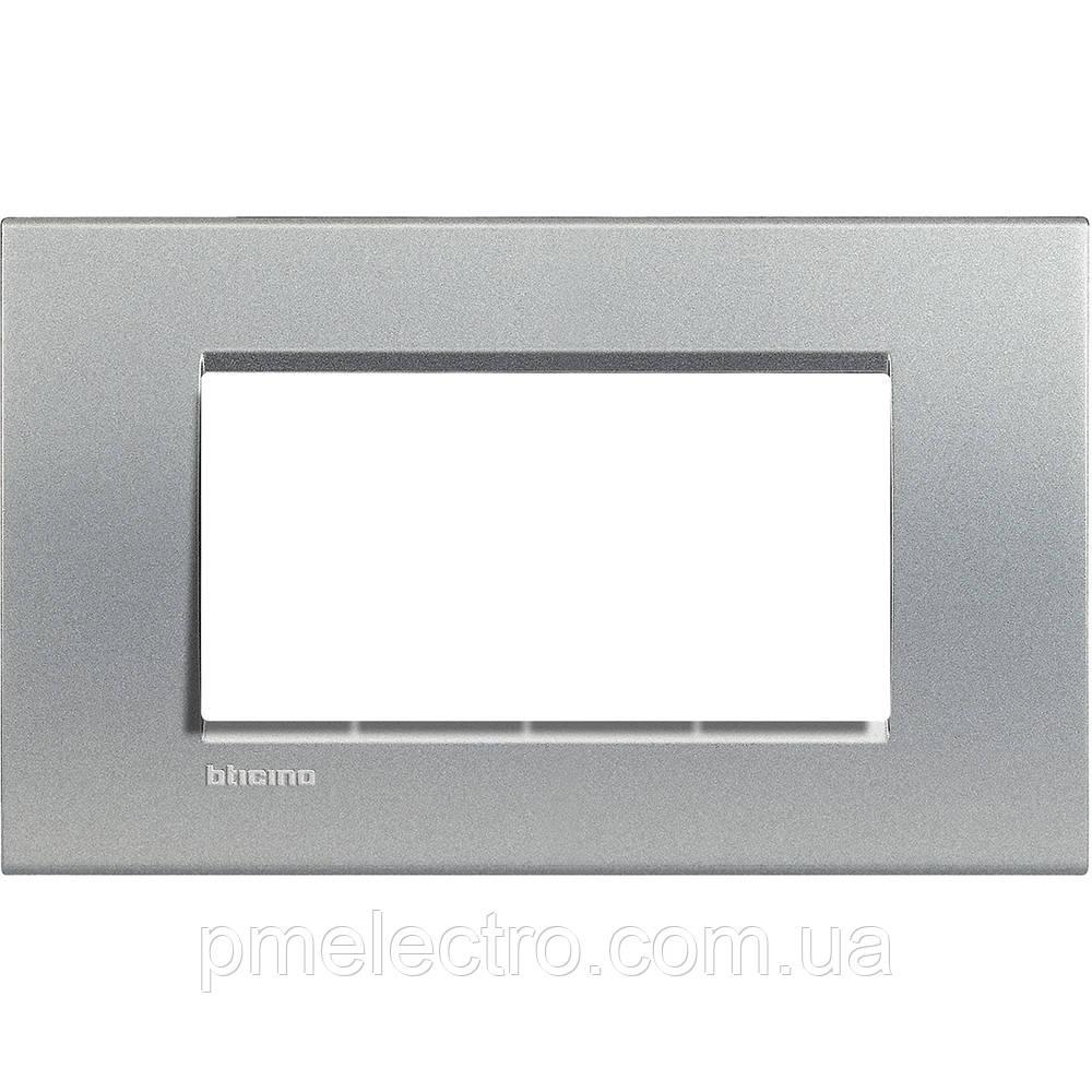 LivingLight Рамка прямоугольная, 4 модуля, цвет Алюминий