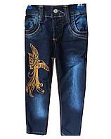 Детские джинсы на девочку. 3-7 лет. Синие. Оптом.