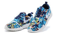 Женские кроссовки Nike roshe run olympic blue flower