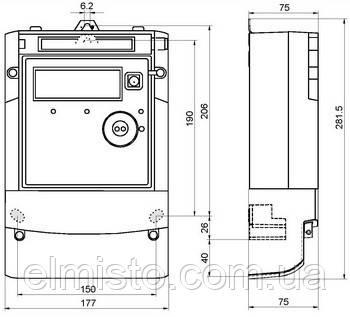 Габаритный чертеж электросчетчика Landis+Gyr ZMG 410 CR4.041b.37