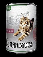 PLATINUM Tuna сбалансированный корм премиум класса для кошек с тунцом 415 г