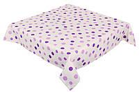 Скатерть столовая белая в фиолетовый горошек