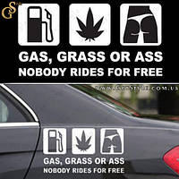 "Наклейка - ""Gas Grass or Ass"" - 16 х 8.5 см., фото 1"