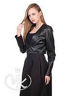 Черная кожаная куртка с отстежным низом