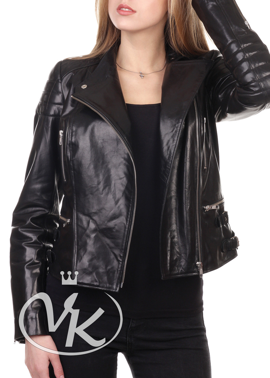 Черная кожаная куртка косуха женская - Интернет магазин кожаных курток и дубленок VK-Fason в Виннице