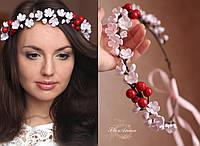 """""""Цвет вишни""""  свадебный веночек для волос ручной работы из полимерной глины., фото 1"""