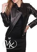Короткая кожаная куртка косуха черная женская (Арт. VK285)