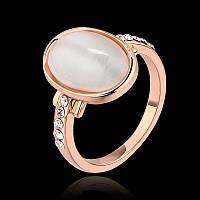 Кольцо лунный камень фианиты покрытие золотом 18К проба