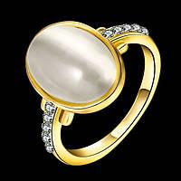 Кольцо лунный камень фианиты покрытие золотом 14К проба