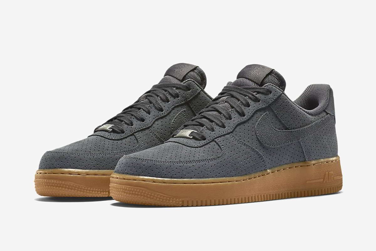 78d1dda9522d Кроссовки Мужские Nike Air Force Low Grey Suede (в Стиле Найк Форс) Серые —  в Категории
